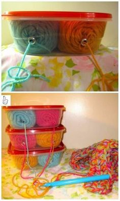 Yarn Holder Hacks Every Knitter Loves to Know - DIY Plastic Container Yarn Holder Tutorial Diy Yarn Organizer, Diy Yarn Holder, Yarn Organization, Macrame Projects, Yarn Projects, Crochet Projects, Yarn Crafts, Sewing Crafts, Yarn Storage