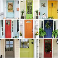 Painting your front door is the cheapest and easiest way to give your home instant curb appeal. However, choosing the right paint color for your front door can be such a difficult decision! I've rounded upover 27 of my favorite front door paint color ideas to help inspire you. (The paint colors with asterisks next … Front Door Paint Colors, Painted Front Doors, Exterior Paint Colors, Front Door Painting, Wall Colors, Exterior Design, Wood Door Paint, Wood Stain, Best Front Doors