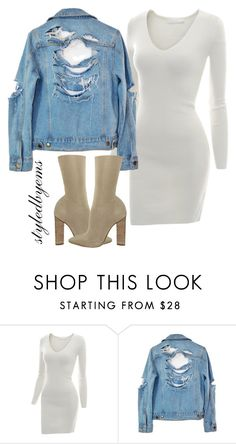 """""""Denim Jacket!!!! Styledbytherow"""" by riseoftherow ❤ liked on Polyvore featuring YEEZY Season 2, Doublju and High Heels Suicide"""