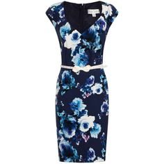 paper dolls Navy Floral Collar Dress ($77) ❤ liked on Polyvore featuring dresses, blue, blue dress, baby doll dress, blue fitted dress, floral dress and floral print dress