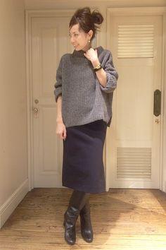 I like style♪ ザックリsweater×straightタイトskirtで縦長のlineがnice☆           L'Appartement DEUXIEME CLASSE スナップNo12088 メインカット