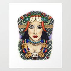 Diosa Coatlicue Art Print by Nelida Perez Art - $30.00