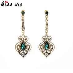 Kiss Me Brand Retro Alloy Heart Drop Earrings for Women Bijoux Summer Trendy Gold Plated Earrings Birthday Gift