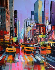 1611 - ème avenue NY - - Brought to you by Smart-e Skyline Painting, City Painting, New York Drawing, Nyc Drawing, Mediterranean Paintings, Landscape Artwork, City Landscape, Building Art, City Illustration