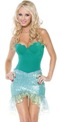 Sexy Adult Little Mermaid Mini Dress Halloween Costume Small