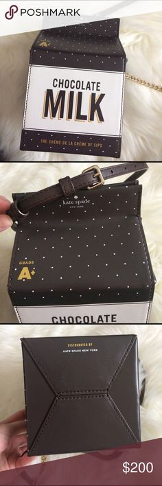 Kate spade chocolate milk novelty bag Adjustable strap. Dents on sides from chain. Small stains on one side (5th photo). Shipping within 1-3 days. kate spade Bags Crossbody Bags