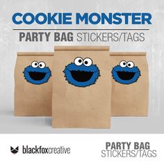 Monster Box, Cookie Monster Party, Loot Bags, Party Favor Bags, Boys First Birthday Party Ideas, Monster Stickers, Label Paper, Party In A Box, Printing Labels