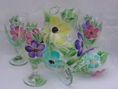 Painted Floral Pitcher Set