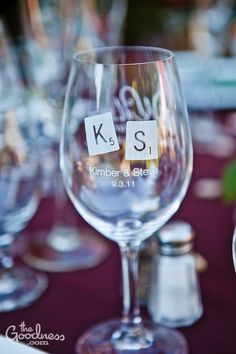 Scrabble tile monogram on wine glasses as favors for the guests!