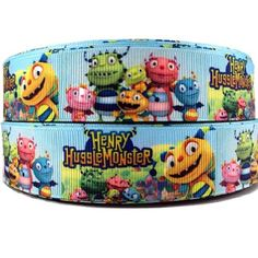 Henry Hugglemonster and friends 25mm 1 inch grosgrain printed cartoon ribbon - cakes dummy hair gift wrap and crafts sold by the yard Mandy's Bowtique http://www.amazon.co.uk/dp/B00KJK2V9Y/ref=cm_sw_r_pi_dp_sFNsvb1R30297