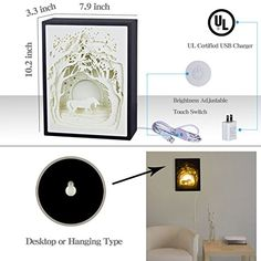 Amazon.com: Papercut Light Boxes, Night Light Lamp of Creative Light Paintings - Fairy Butterfly (Unicorn): Baby