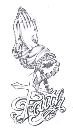 hands praying to God with rosary and cross of Jesus Christ
