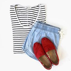 Beat the heat this summer in our new jogger shorts and striped tees! For a pop of color wear a pair of bright sneakers. #style #fashion #summerstyle #freestylefind #freestyleclothinexchange