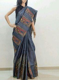 Kerala Saree Blouse Designs, Blouse Neck Designs, Kurta Designs, Indian Attire, Indian Outfits, Indian Wear, Soft Silk Sarees, Cotton Saree, Saree Painting