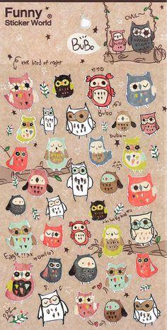 Korean Scrapbook Sticker Bubobubo owls by alicemolds on Etsy