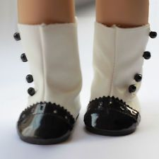 New White+Black Doll Shoes Boots Doll Clothes For 18