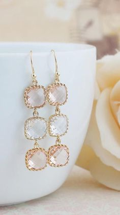 Peach Glass Dangle Earrings from EarringsNation Peach Weddings Peach earrings