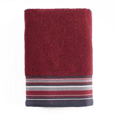Evan Stripe Bath Towel, Red