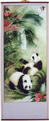Frolicking Pandas Chinese Scroll    A panda couple relax and enjoy the tranquility of an untouched natural environment in this peaceful and beautiful Chinese scroll. The green foliage and pink flowers contribute to the wonderful look and soothing nature of this artistic work.
