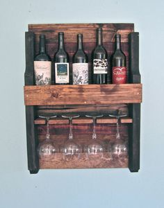 Half Size Rustic Pallet Wine Rack on Etsy, $80.00