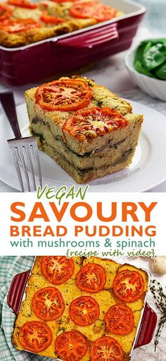Vegan Savoury Bread Pudding – Dairy-free + Eggless Recipe Do you end up picking canned food or dry foodstuff? Vegan Bread Pudding, Savory Bread Puddings, Chocolate Bread Pudding, Pudding Cake, Cake Chocolate, Eggless Bread Pudding Recipe, Eggless Recipes, Pudding Recipes, Soup Recipes