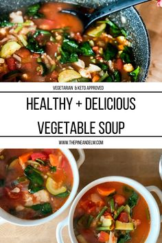 What more could you ask for in a soup? This Healthy and Delicous Vegetable Soup is the perfect bowl. Tomato Vegetable, Vegetable Soup Recipes, Vegetarian Keto, Italian Seasoning, Cooking Time, Green Beans, Cravings, Stuffed Peppers, Dinner