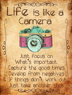 Life Is Like A Camera Wholesale Metal Novelty Parking Sign - Pininsta Powerful Motivational Quotes, Meaningful Quotes, Great Quotes, Inspirational Quotes, Positive Thoughts, Positive Quotes, Wisdom Quotes, Me Quotes, Quotes For Signs