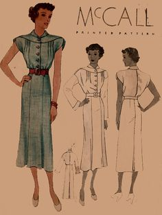 1930s Vintage Sewing Pattern McCall 8729 Womens by sandritocat