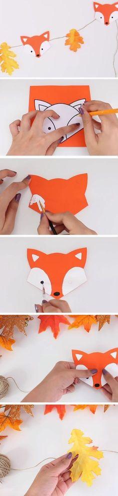 Fox Garland | DIY Fall Baby Shower Ideas for Boys. Woodland baby shower or birthday party decor #decoracionbabyshower