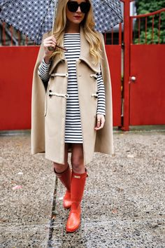 Cape: Carven c/o Hampden Clothing (also here and love this toggle coat here). Dress: Zara (similar). Boots: Hunter.