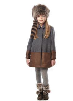 Fendi fall/winter 2013 kidswear line has a very cool leather hemmed wool coat