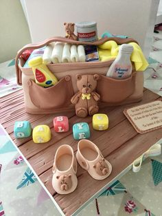 Beautiful Baby Shower cake by Joanna Nash. Teddy Mould - Karen Davies Sugarcraft.