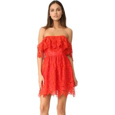Lovers + Friends Dream Vacay Dress ($198) ❤ liked on Polyvore featuring dresses, lace dress, lace ruffle dress, off the shoulder lace dress, red dress and frilly dresses