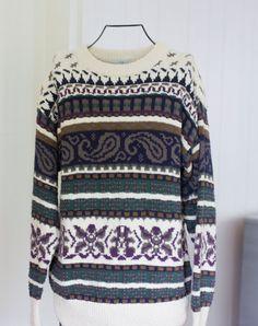 1a58e0b3 Mens 80s Sweater, Vintage Sweater, Mans Sweater, Van Heusen 417, Size  Medium, Paisley Pattern, Tribal Pattern, Green Purple Blue Cream Retro