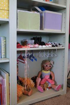 Cute way to store american girl doll stuff.