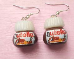 "Nutella ""hazelnut cream"" jar earrings - handmade miniature polymer clay food jewelry. $13.00, via Etsy."