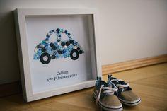 Weiteres - Geburtsbild Auto mit Name - Geschenk zur Taufe - ein Designerstück von Buttonmomentsbyjujo bei DaWanda