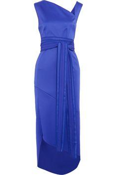 ANTONIO BERARDI Asymmetric Belted Wool-Blend Midi Dress. #antonioberardi #cloth #dress