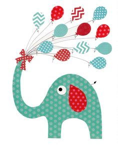 Blue and Red Elephant Nursery Artwork Print // Baby Room Decoration // Kids Room Decoration // Gifts Under 20