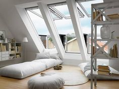 SLICE OF HEAVEN: Turn an unused attic or above-garage room into an extraordinary living space that brings the outdoors in with the VELUX CABRIO® Balcony Roof Window. The top opens for ventilation and the bottom opens outward to create a roof balcony. Attic Rooms, Attic Spaces, Attic Playroom, Attic Bathroom, Bed Rooms, Bathroom Grey, Roof Window, Window Bed, Attic Window