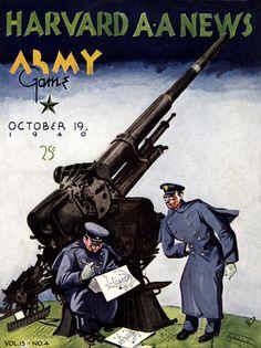 1940 Harvard Crimson vs Army Black Knights 22 x 30 Canvas Historic Football Poster