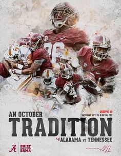 "Alabama vs Tennessee graphic ""Third Saturday in October"" Sports Advertising, Sports Marketing, Sport Inspiration, Graphic Design Inspiration, Alabama Vs, Alabama Football, Alabama Crimson, American Football, Mexico 86"