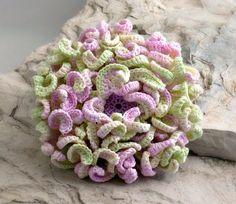 Crochet Brooch Irish Crochet Pin Chrysanthemum Lavender Mint Green White.  What a work of art!