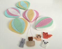 Hot Air Balloon Mobile DIY KIT Nursery Decor Wool Felt Kit | Etsy