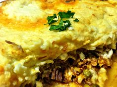 Mashed Cauliflower Shepherd's Pie: Slowcook 2 cups of shredded roast beef or lamb, 1 and 1/2 cup of water, salt, pepper, 1 tsp thyme, 1 tsp rosemary, 2 tablespoons Tabasco sauce, some chopped garlic, 1 chopped onion, 4 tablespoons tomato sauce, 1 chopped zucchini, 1 cup of frozen peas. Cook on low for 8 hours. To make the cauliflower topping- steam 2 chopped heads of cauliflower, whip with 1/4 cup cream, butter, salt, 1 egg yolk. Put on sauce in baking dish. Bake at 350 for a half hour