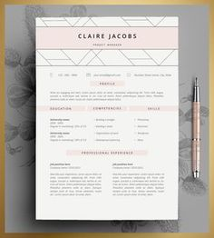 Resume Template, CV Template Editable in MS Word and Pages, Instant Digital Download.