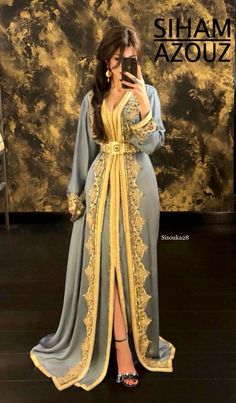 Siham Azouz - wedding and engagement photo Moroccan Kaftan Dress, Caftan Dress, Abaya Style, Arab Fashion, Muslim Fashion, Gothic Fashion, Habits Musulmans, Hijab Evening Dress, Hijab Dress