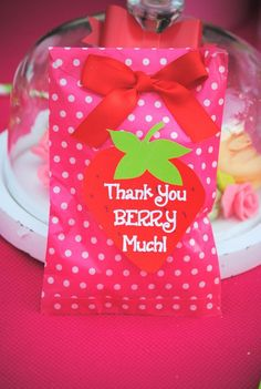 STRAWBERRY Birthday Party- Strawberry Party- THANK YOU TAGS