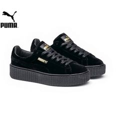 Men s Women s Fenty Puma by Rihanna Velvet Creepers Shoes Puma Black  364639-01 Creepers df60d91f7