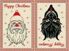 kringle and krampus | The card is meant to be folded in half where you choose the front, and ...